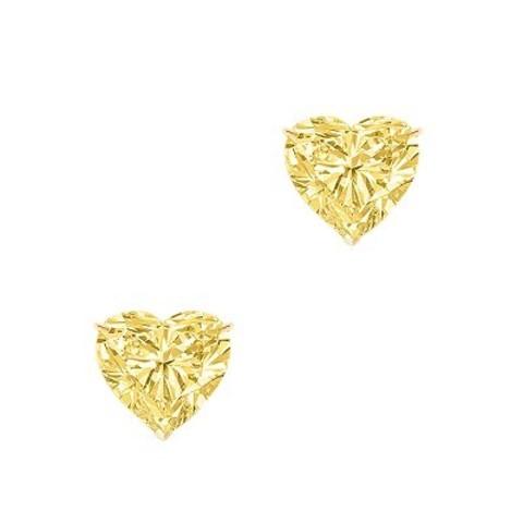 Пусеты HEART из серебра с желтым цирконом в стиле Ko Jewelry
