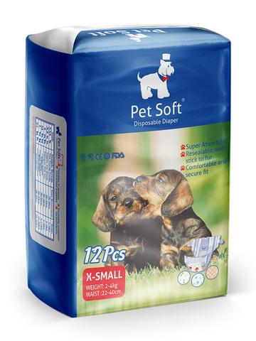 Pet Soft одноразовые впитывающие подгузники для животных размер XS 12 штук