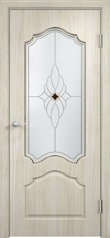 Дверь Верда Ирида, стекло Сатинато Ромб, цвет беленый дуб мелинга, остекленная