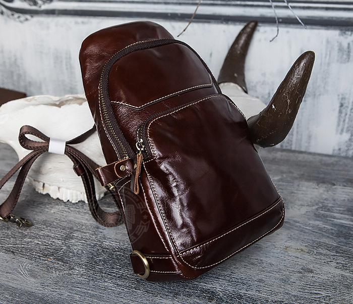 BAG421-2 Мужская сумка из шикарной кожи с одной лямкой фото 07