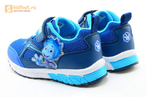 Светящиеся кроссовки для мальчиков Фиксики на липучках, цвет синий, мигает картинка сбоку. Изображение 7 из 15.