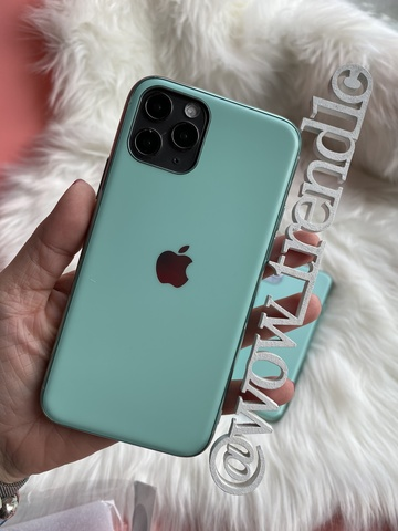 Чехол iPhone 11 Pro Glass Silicone Case Logo matte /beryl/