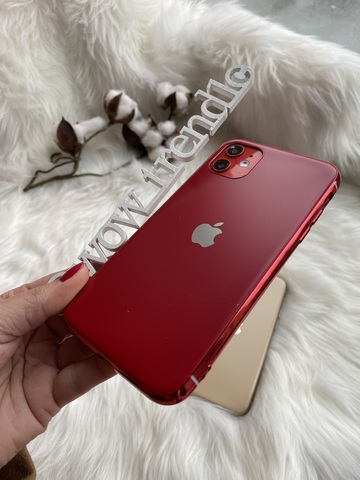 Чехол iPhone 11 Pro Glass Silicone Case Logo matte /red/