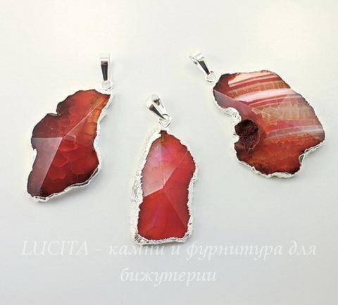 Подвеска Агат (тониров) с огранкой с покрытием фольги (цвет - серебро)(коричнево-розовый) (0)