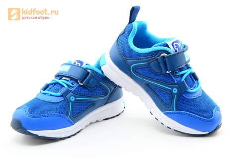Светящиеся кроссовки для мальчиков Фиксики на липучках, цвет синий, мигает картинка сбоку. Изображение 8 из 15.