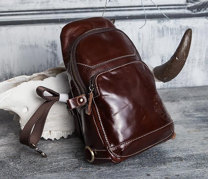 BAG421-2 Мужская сумка из шикарной кожи с одной лямкой фото 09