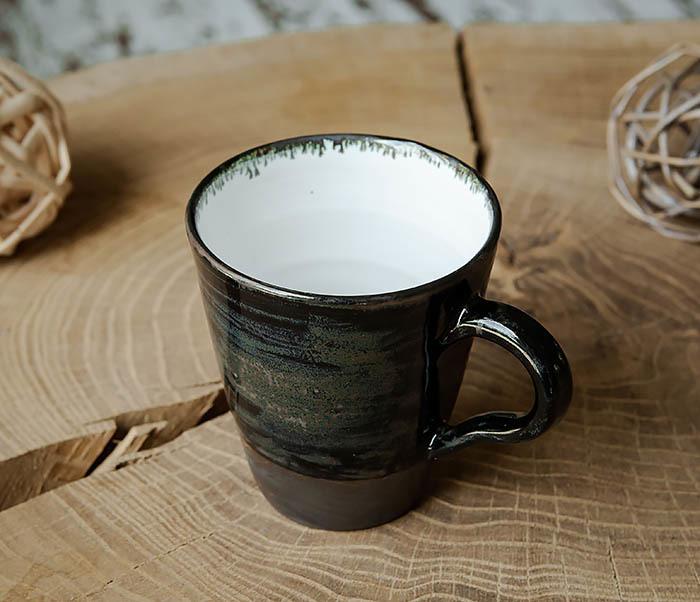 CUP104-1 Большая керамическая кружка в глазури, ручная работа (300 мл) фото 02