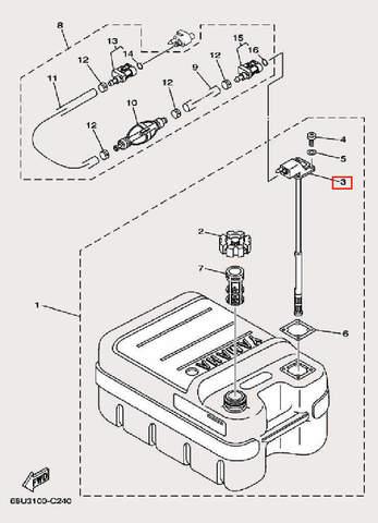 Коннектор топливный для лодочного мотора F9,9 Sea-PRO (27-3)