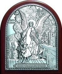 Икона Ангел Хранитель из серебра 8,5х7см