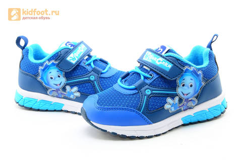 Светящиеся кроссовки для мальчиков Фиксики на липучках, цвет синий, мигает картинка сбоку. Изображение 10 из 15.