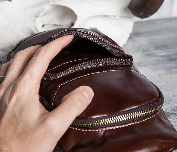BAG421-2 Мужская сумка из шикарной кожи с одной лямкой фото 11