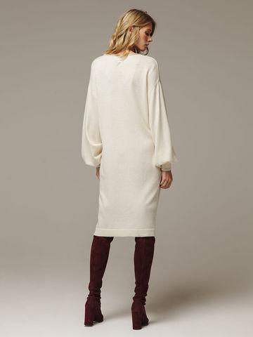 Женское белое платье с V-образным вырезом и объемными рукавами из 100% кашемира - фото 3