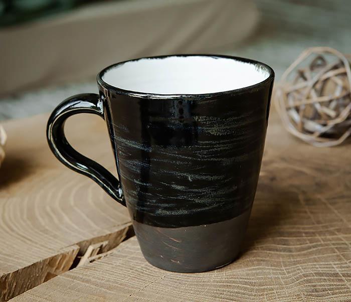 CUP104-1 Большая керамическая кружка в глазури, ручная работа (300 мл) фото 04
