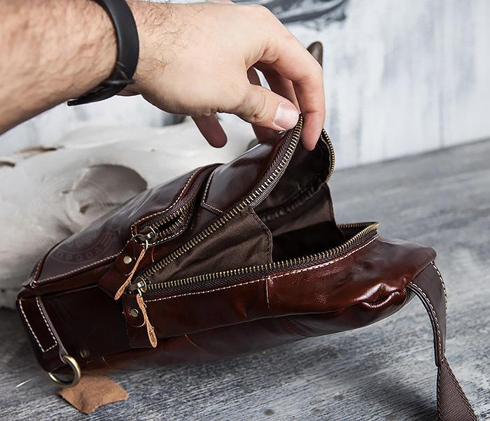 BAG421-2 Мужская сумка из шикарной кожи с одной лямкой фото 12