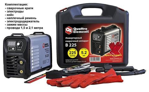 Аппарат электродной сварки, инвертор QUATTRO ELEMENTI B 225 (225 А, ПВ 80%, до 5.2 мм, 5.5 кг, Дисплей, TIG-Lift, от 160В, КЕЙС)
