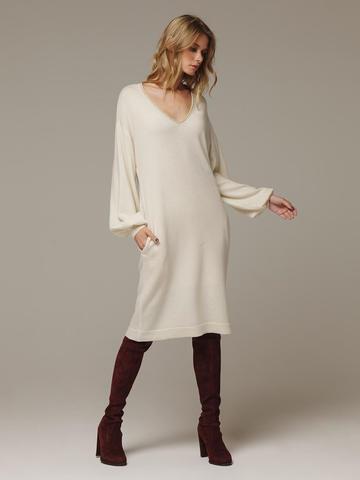 Женское белое платье с V-образным вырезом и объемными рукавами из 100% кашемира - фото 1