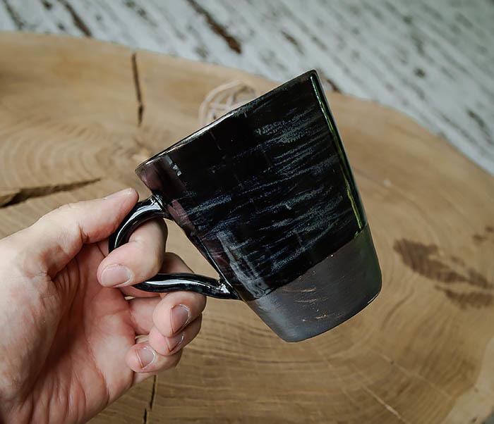 CUP104-1 Большая керамическая кружка в глазури, ручная работа (300 мл) фото 05