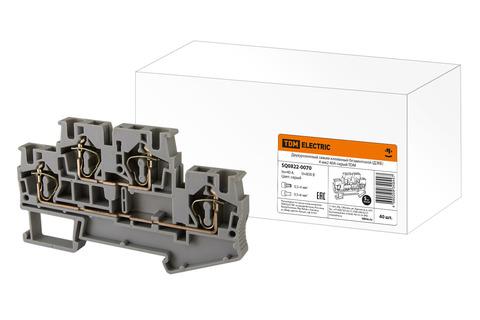 Двухуровневый зажим клеммный безвинтовой (ДЗКБ) 4 мм2 40А серый TDM
