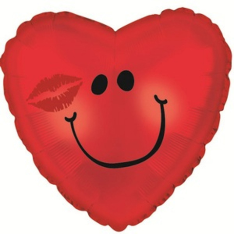 Фольгированное сердце Смайл с поцелуем