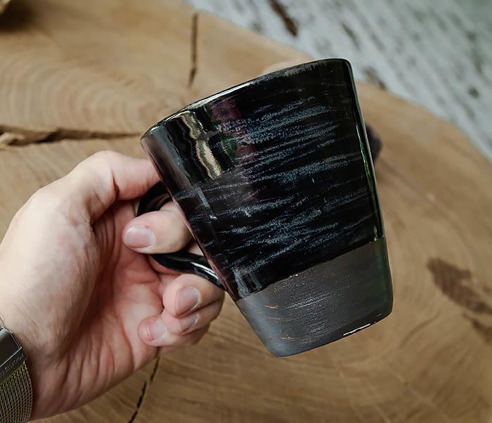CUP104-1 Большая керамическая кружка в глазури, ручная работа (300 мл) фото 06