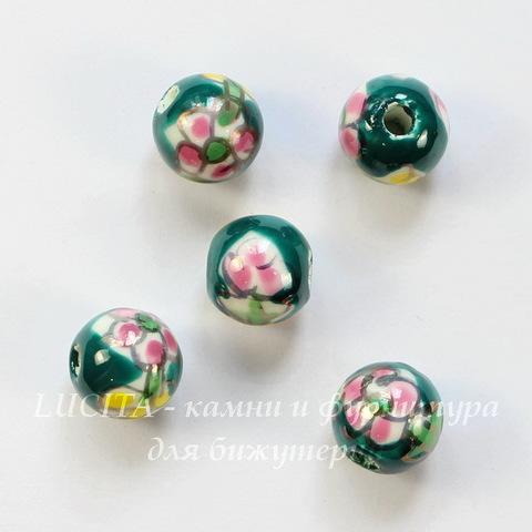 """Бусина фарфоровая ручной работы, шарик ,""""Розовый цветок на зеленом фоне"""", 10 мм"""