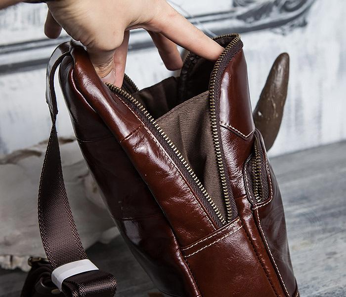 BAG421-2 Мужская сумка из шикарной кожи с одной лямкой фото 14