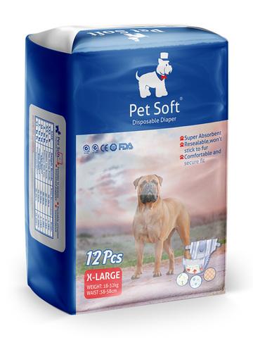 Pet Soft одноразовые впитывающие подгузники для животных размер XL 12 штук