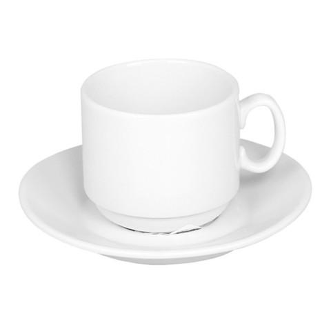 Кофейная пара Мокко белая фарфор, чашка 100мл блюдце d-10см C1627