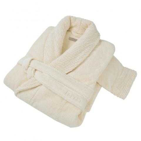 Элитный халат махровый Galata Organic Contrast слоновая кость от Hamam
