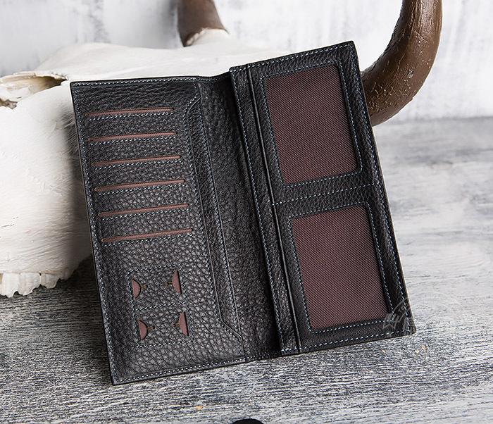 WL288-1 Мужской клатч из натуральной кожи черного цвета фото 04