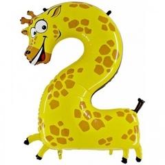 Фольгированная цифра 2 жираф