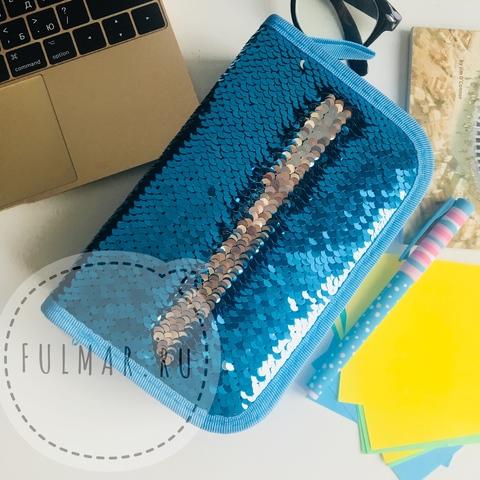 Пенал с пайетками трехсекционный на молнии для девочек меняет цвет Голубой-Серебристый