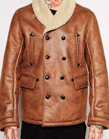 Куртка из кожзаменителя на меховой подкладке ASOS