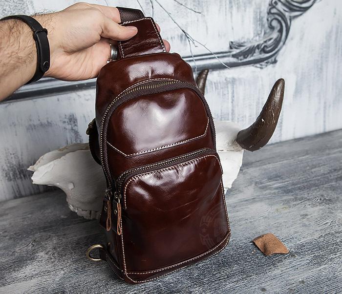 BAG421-2 Мужская сумка из шикарной кожи с одной лямкой фото 16