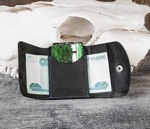 Мужской мини кошелек ручной работы из черной кожи