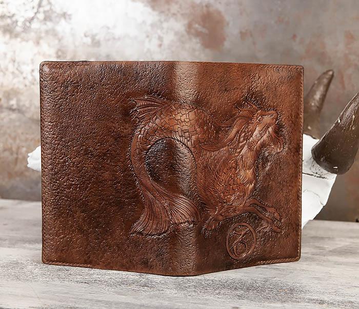 BC190 Ежедневник в кожаной обложке и изображением Козерога (А5) фото 05