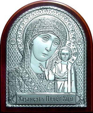 Серебряная икона Божией Матери Казанская 8,5х7см