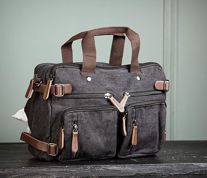 BAG475-1 Мужская сумка рюкзак «трансформер» из ткани