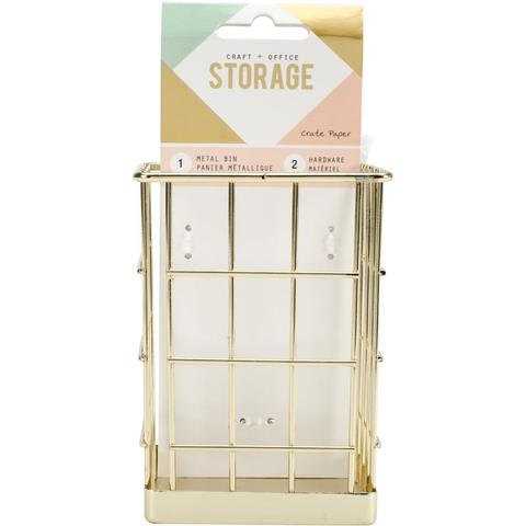 Органайзер -Wire System Metal Storage Bin-Crate Paper -Gold