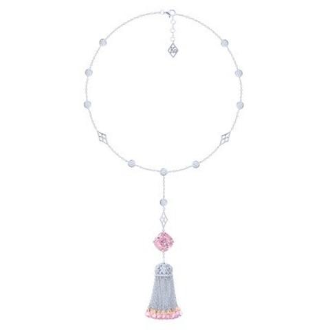 Сотуар с кисточкой из цепочек с розовыми цирконами в стиле KO JEWELRY 4836