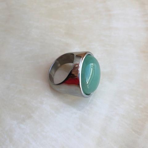 Кольцо с Камнем Бирюзового цвета, серебряный цвет