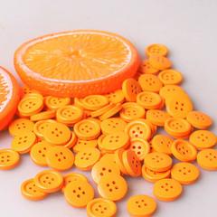 Пуговица деревянная 15 мм, цвет оранжевый