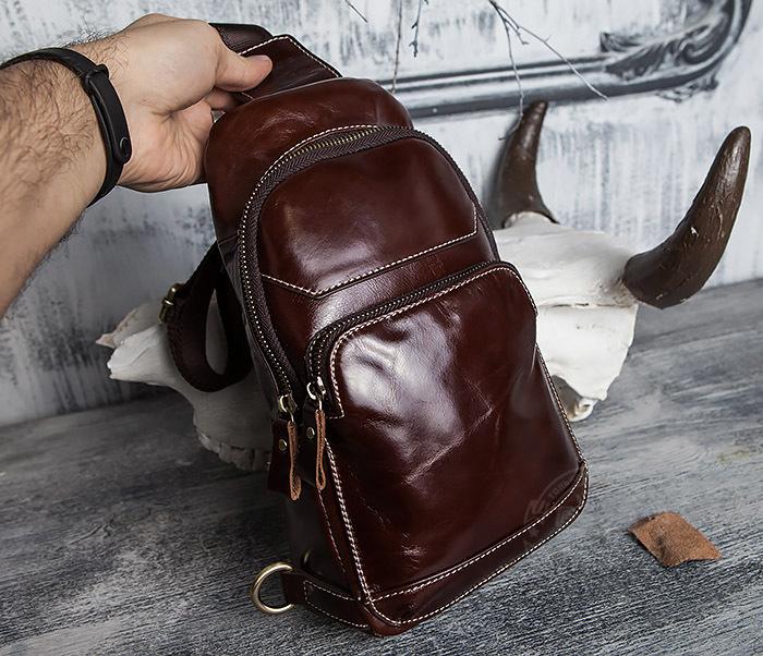 BAG421-2 Мужская сумка из шикарной кожи с одной лямкой фото 17