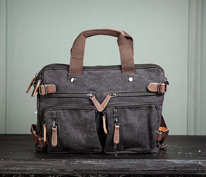 BAG475-1 Мужская сумка рюкзак «трансформер» из ткани фото 02