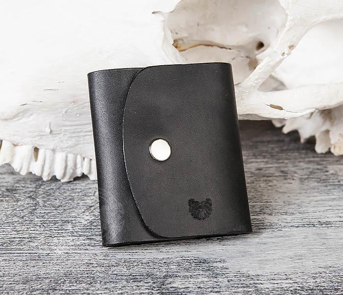 WB166-1 Мужской мини кошелек ручной работы из черной кожи фото 02