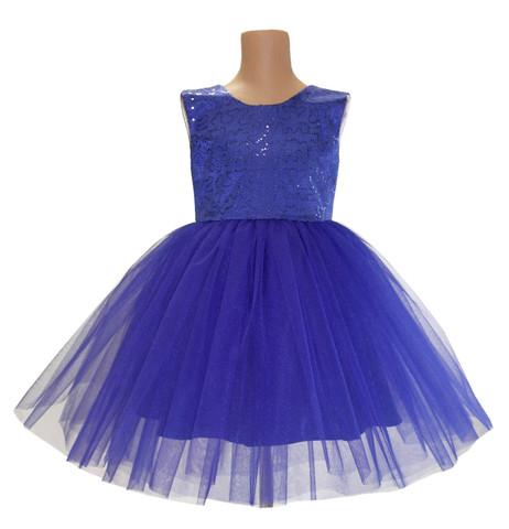 Платье синее с пайетками для малышек