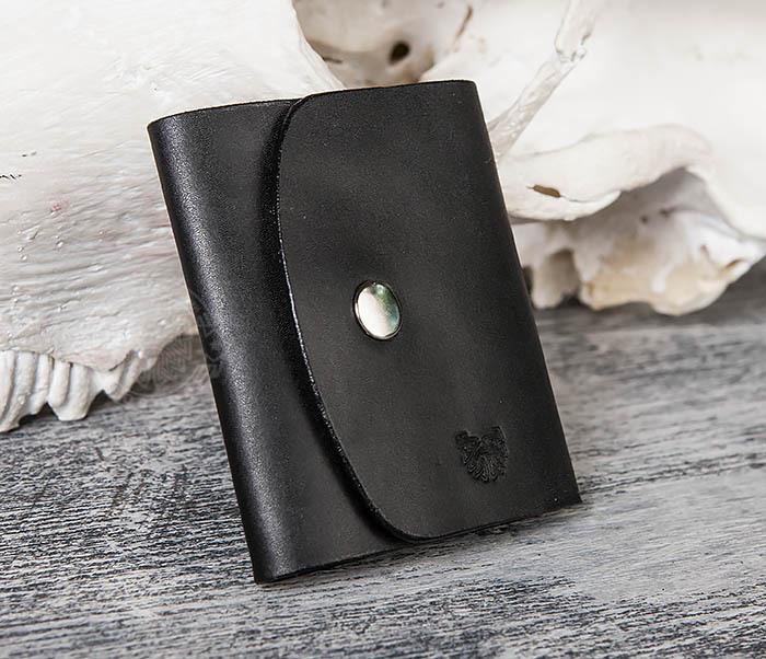 WB166-1 Мужской мини кошелек ручной работы из черной кожи фото 03