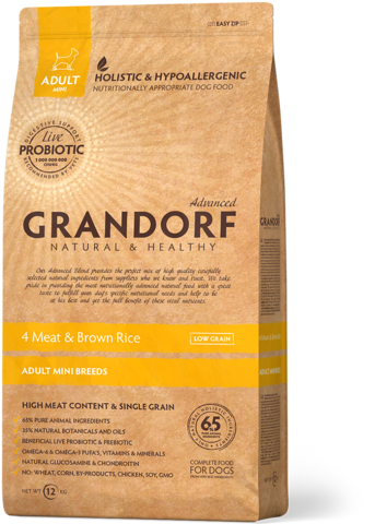 Grandorf Mini Breeds 4 Meat&Rice with Probiotcs