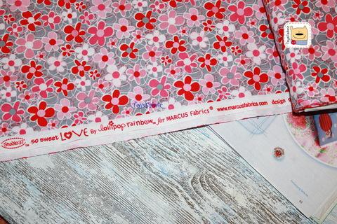 Ткань для пэчворка 20770 (розовые цветы на сером) 45х55см