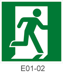 Эвакуационный знак безопасности Е01-01 выход здесь правосторонний